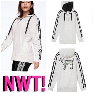 NWT! PINK SEQUIN BLING CAMPUS SHERPA HOOD PULLOVER